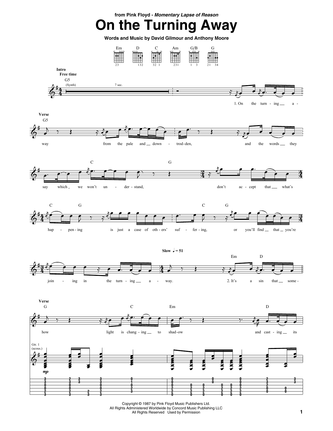 Tablature guitare On The Turning Away de Pink Floyd - Tablature Guitare