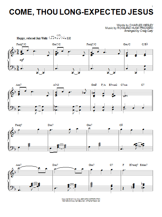 Partition piano Come, Thou Long-Expected Jesus de Craig Curry - Piano Solo