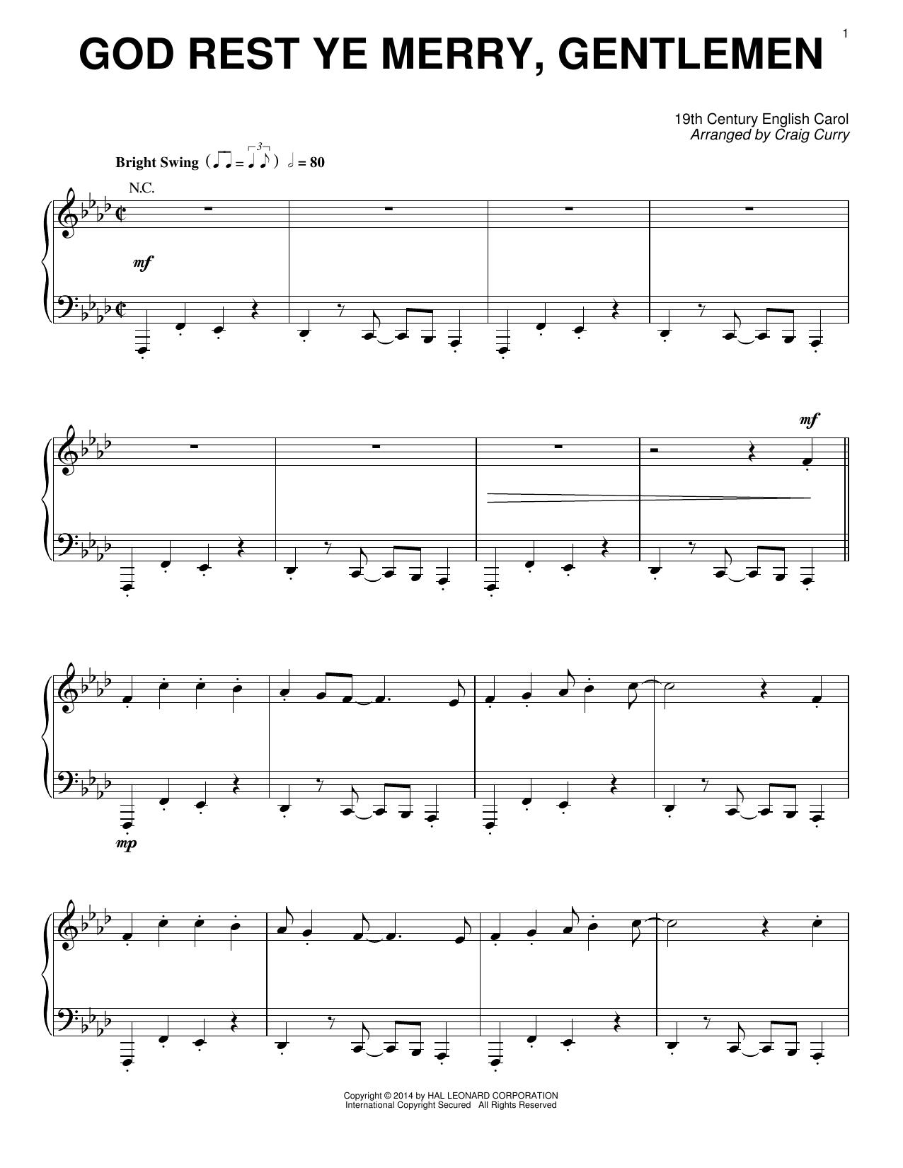 Partition piano God Rest Ye Merry, Gentlemen de Craig Curry - Piano Solo