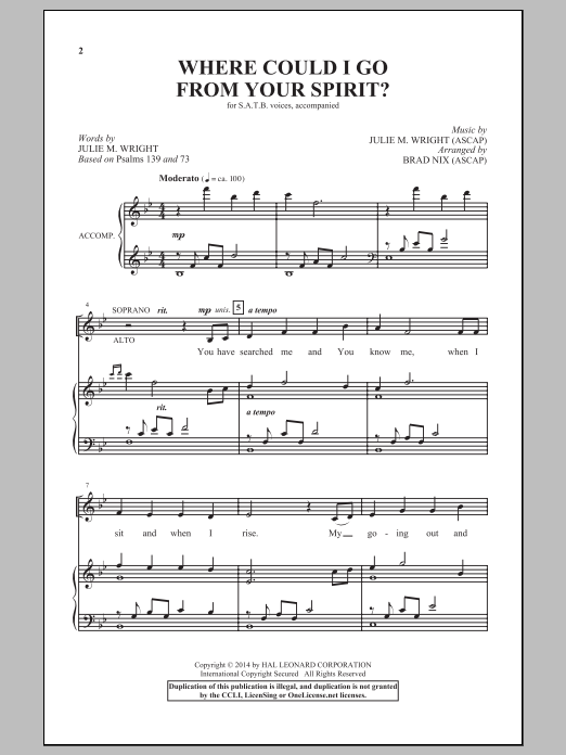 Partition chorale Where Could I Go From Your Spirit? de Brad Nix - SATB