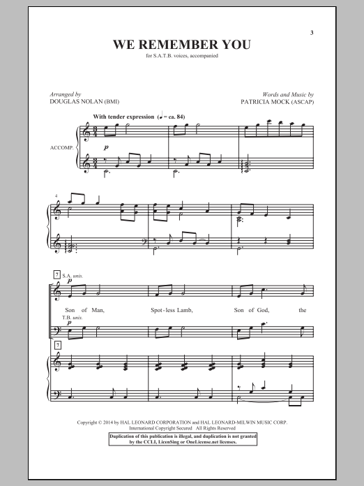 Partition chorale We Remember You de  - SATB