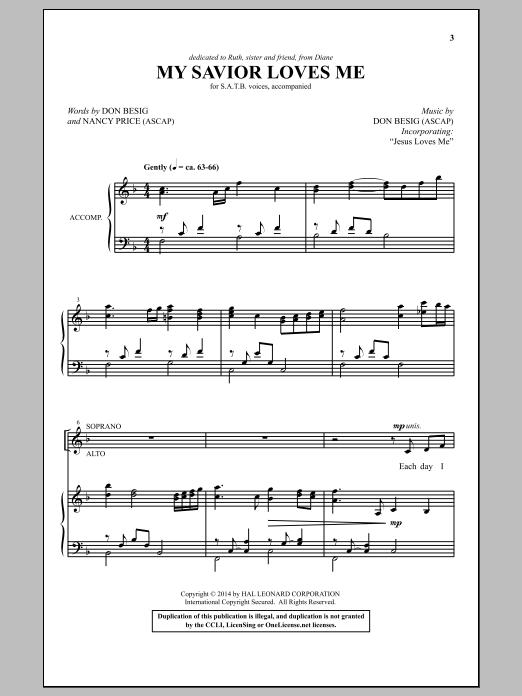 Partition chorale My Savior Loves Me de Don Besig - SATB