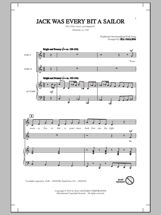Partition chorale Jack Was Ev'ry Inch A Sailor de Traditional Newfoundland Folk - 2 voix