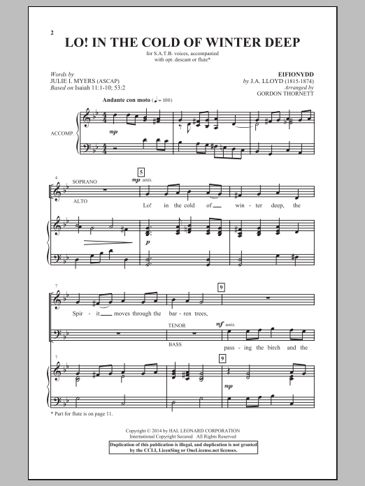 Partition chorale Lo! In The Cold Winter Deep de Gordon Thornett - SATB