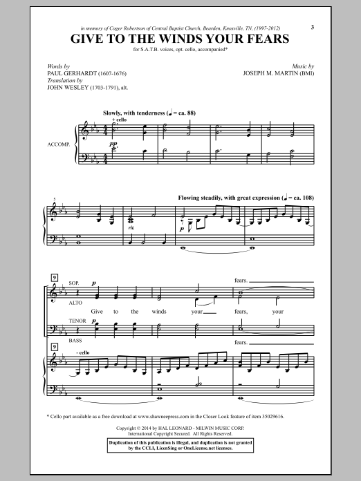Partition chorale Give To The Winds Your Fears de Joseph M. Martin - SATB
