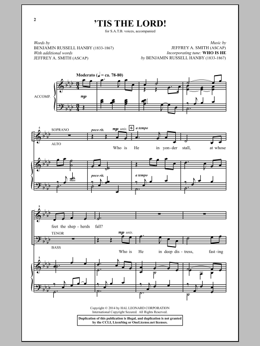 Partition chorale 'Tis The Lord! de  - SATB