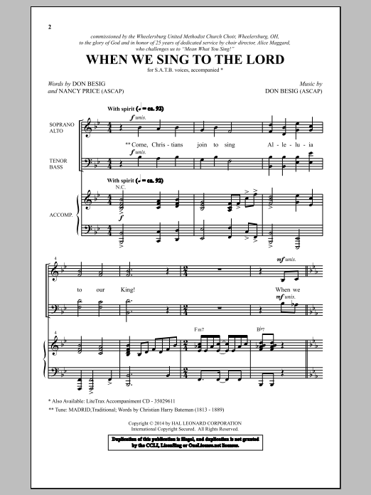 Partition chorale When We Sing To The Lord de Don Besig - SATB