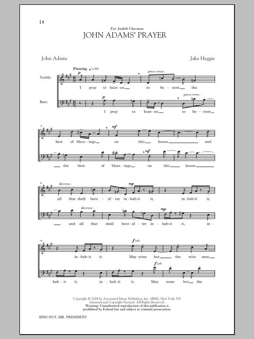 Partition chorale John Adams' Prayer de  - 2 voix
