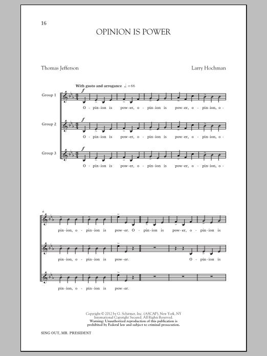 Partition chorale Opinion Is Power de Larry Hochman - 3 voix mixtes