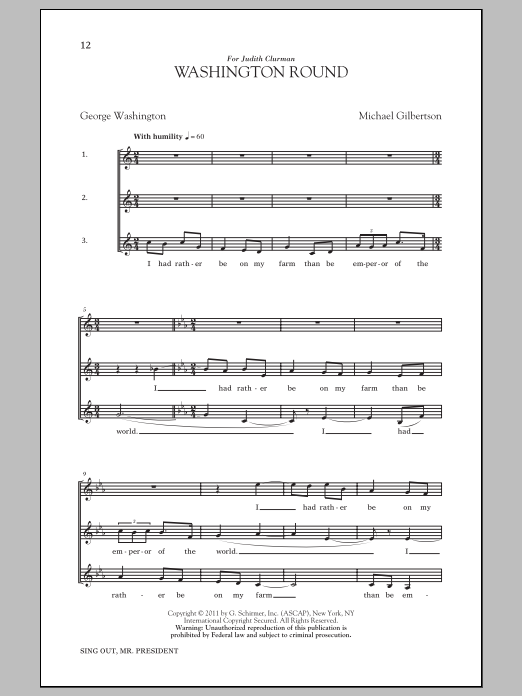 Partition chorale Washington Round de  - 3 voix mixtes