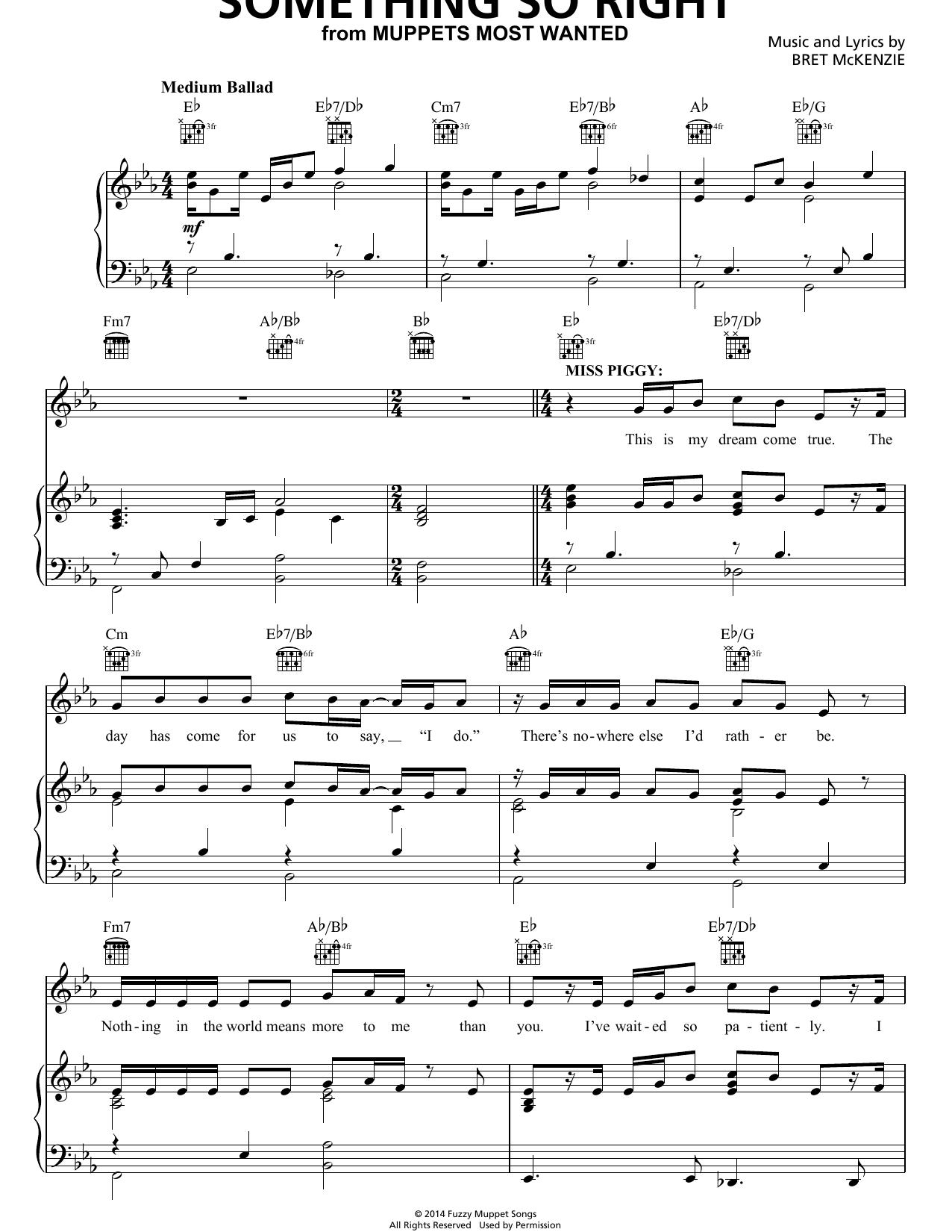 Partition piano Something So Right de Bret McKenzie - Piano Voix Guitare (Mélodie Main Droite)