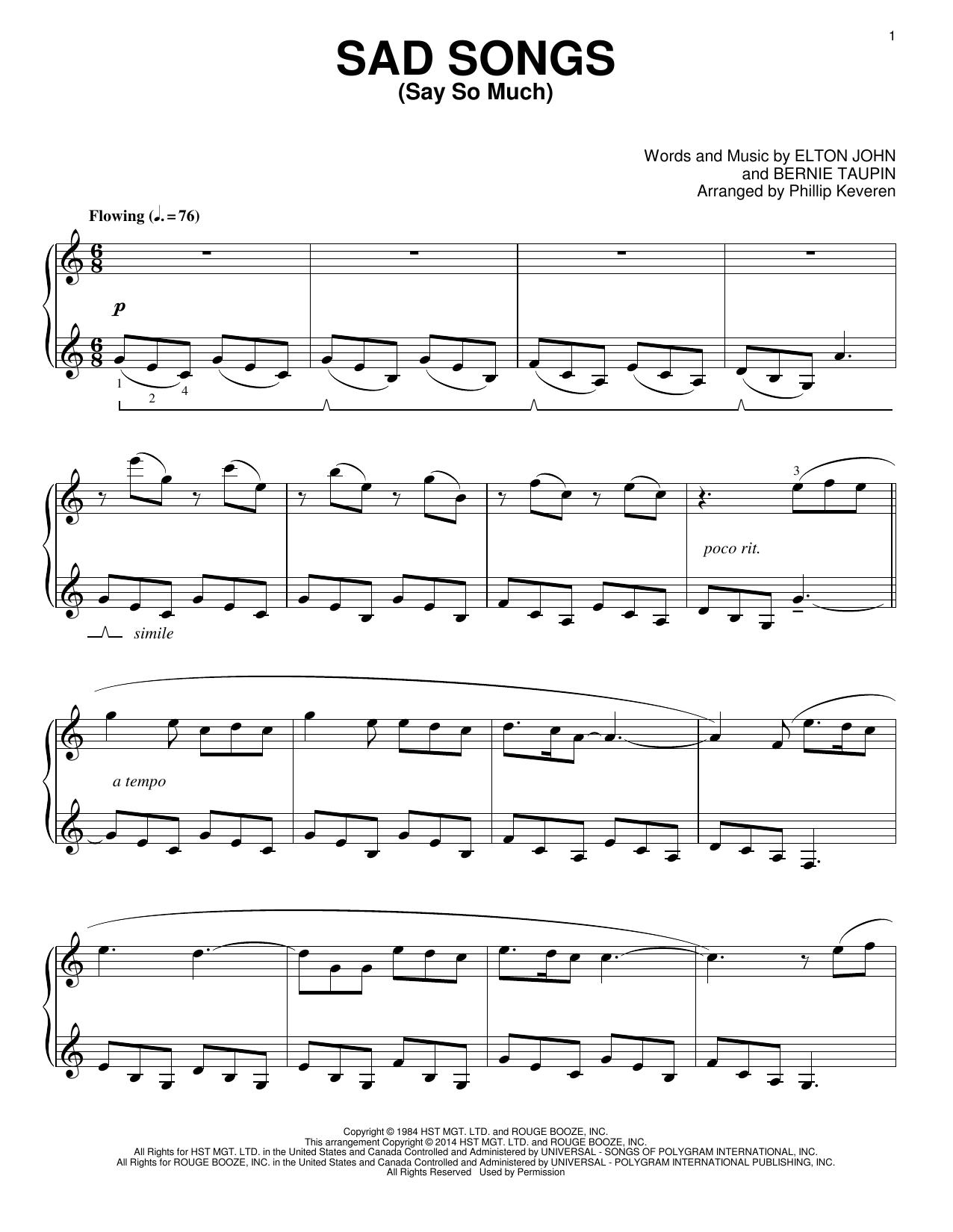 Partition piano Sad Songs (Say So Much) de Phillip Keveren - Piano Solo