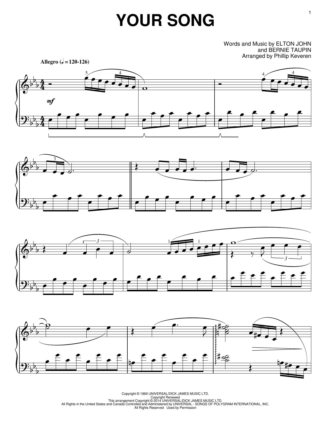 Partition piano Your Song de Phillip Keveren - Piano Solo