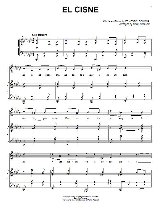 Partition piano El Cisne de Paul Posnak - Piano Voix