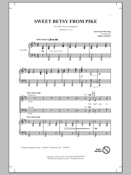 Partition chorale Sweet Betsy From Pike (arr. Greg Gilpin) de Traditional Folksong - SATB
