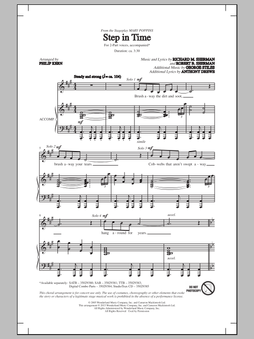 Partition chorale Step In Time de Robert B. Sherman - 2 voix
