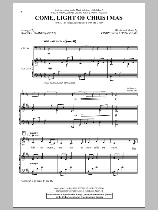 Partition chorale Come, Light Of Christmas de Cindy Ovokaitys - SATB