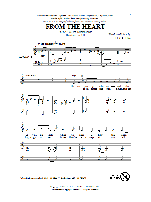 Partition chorale From The Heart de Jill Gallina - SAB