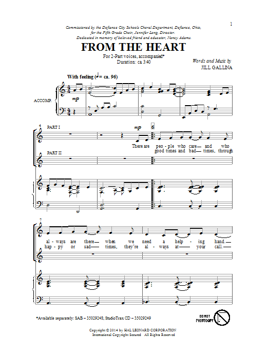 Partition chorale From The Heart de Jill Gallina - 2 voix