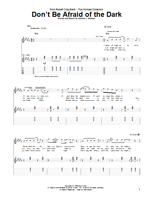 Tablature guitare Don't Be Afraid Of The Dark de Robert Cray - Tablature Guitare