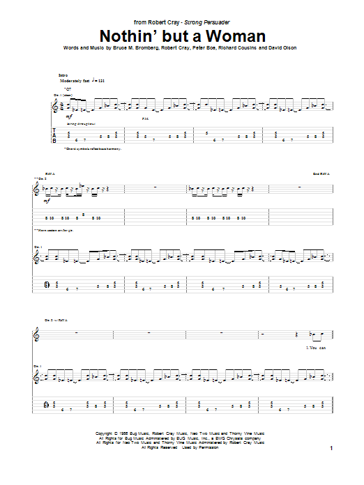 Tablature guitare Nothin' But A Woman de Robert Cray - Tablature Guitare