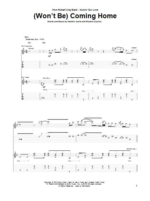 Tablature guitare (Won't Be) Coming Home de Robert Cray - Tablature Guitare
