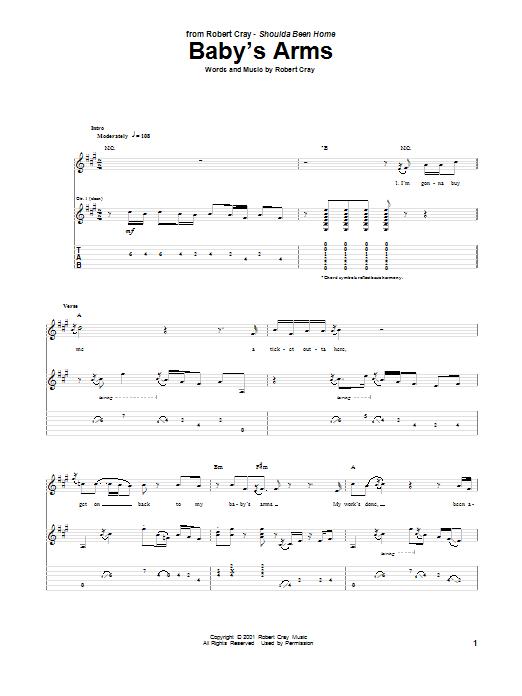 Tablature guitare Baby's Arms de Robert Cray - Tablature Guitare