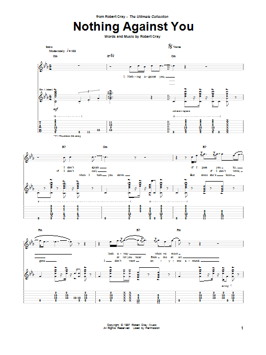 Tablature guitare Nothing Against You de Robert Cray - Tablature Guitare