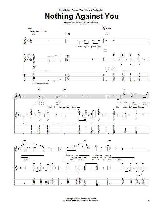 Tablature guitare Nothing Against You de Robert Cray - Tablature Guitare
