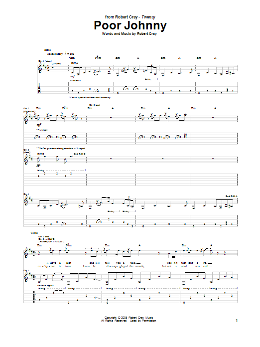 Tablature guitare Poor Johnny de Robert Cray - Tablature Guitare