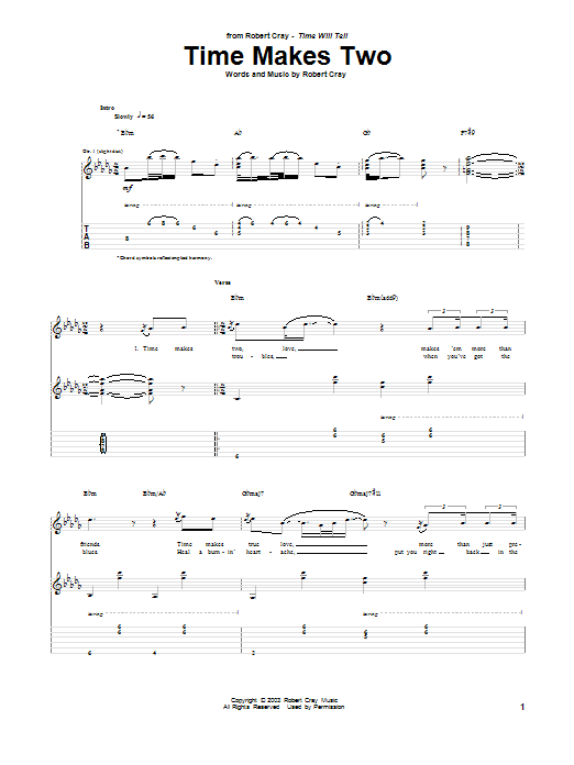 Tablature guitare Time Makes Two de Robert Cray - Tablature Guitare