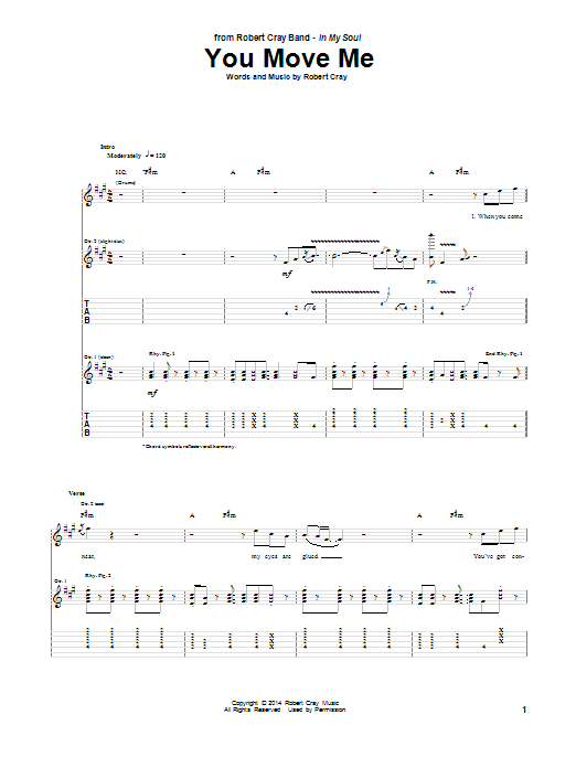 Tablature guitare You Move Me de Robert Cray - Tablature Guitare
