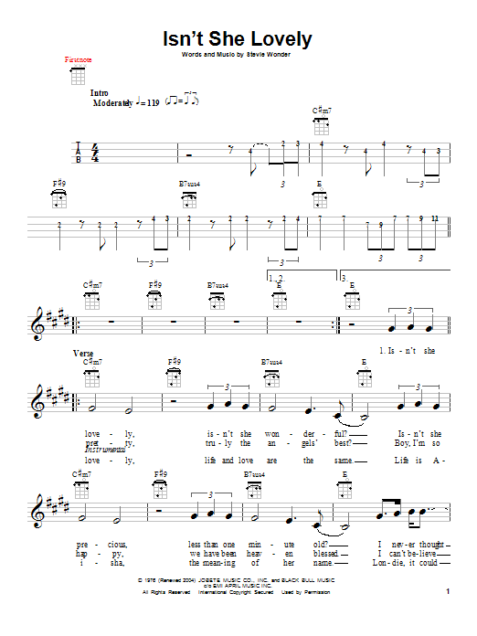 Tablature guitare Isn't She Lovely de Stevie Wonder - Ukulele