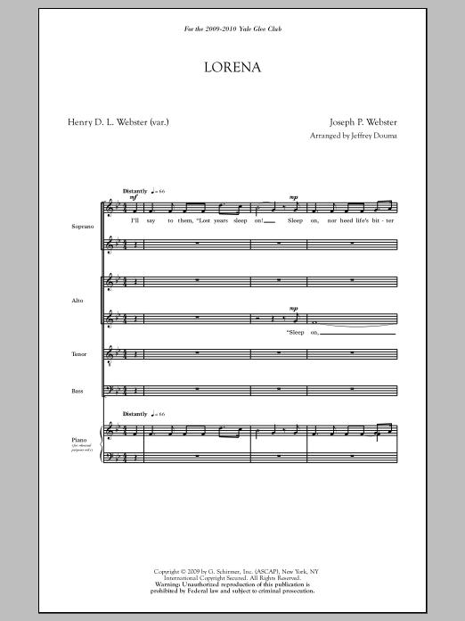 Partition chorale Lorena (arr. Jeffrey Douma) de  - SATB