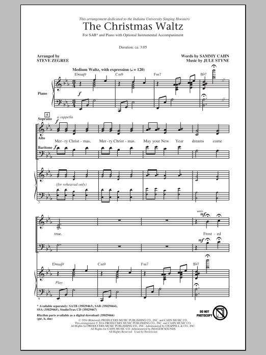 Partition chorale The Christmas Waltz (arr. Steve Zegree) de Frank Sinatra - SAB