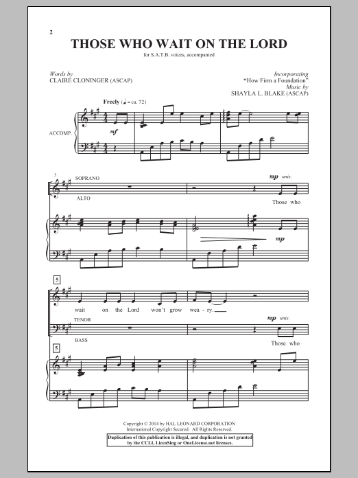 Partition chorale Those Who Wait On The Lord de  - SATB