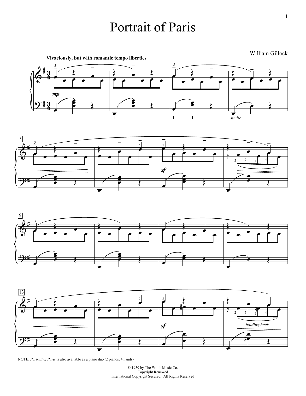 Partition piano Portrait Of Paris de William Gillock - Piano Facile