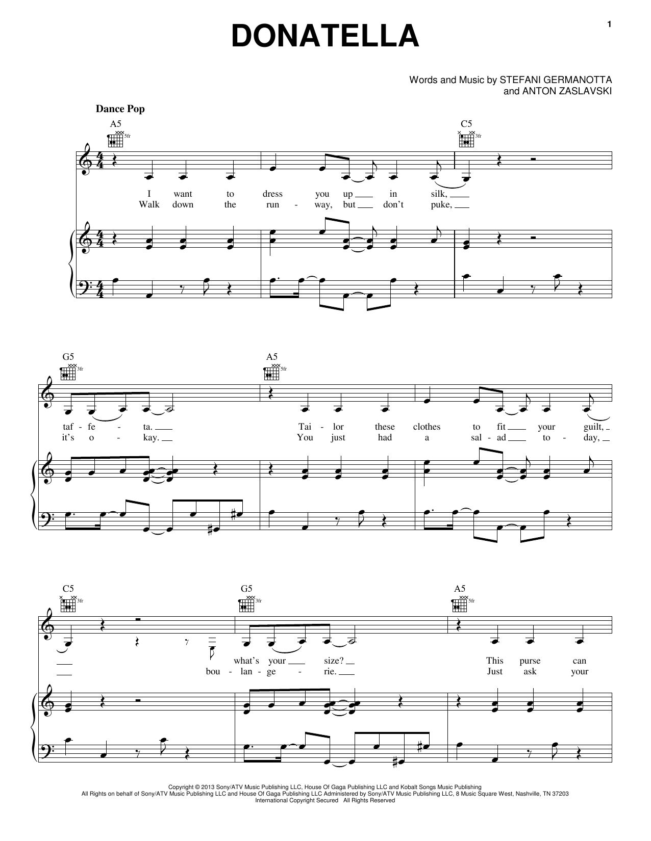 Partition piano Donatella de Lady Gaga - Piano Voix Guitare (Mélodie Main Droite)