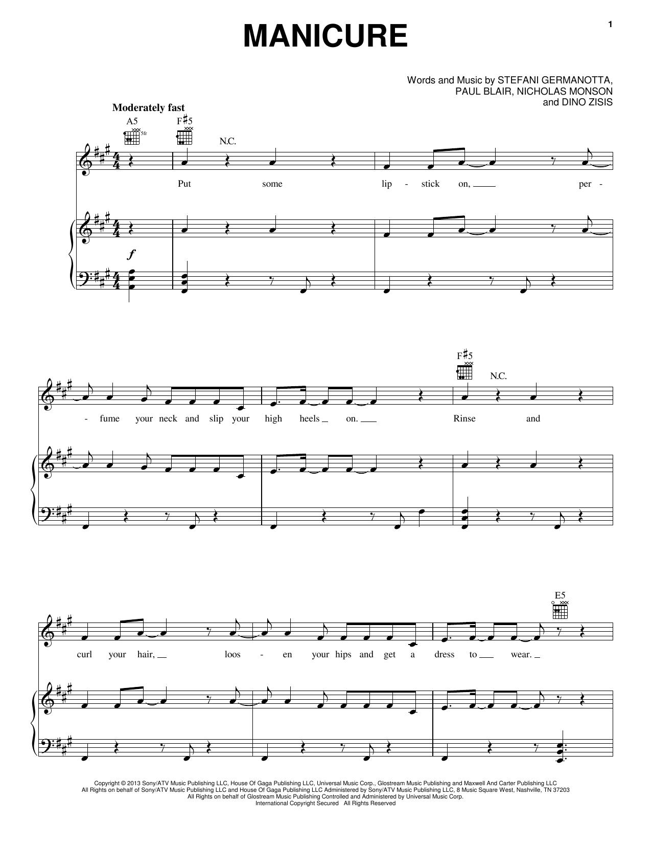 Partition piano Manicure de Lady Gaga - Piano Voix Guitare (Mélodie Main Droite)