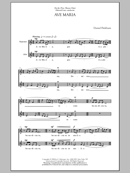 Partition chorale Ave Maria & Benedictus de  - 2 voix