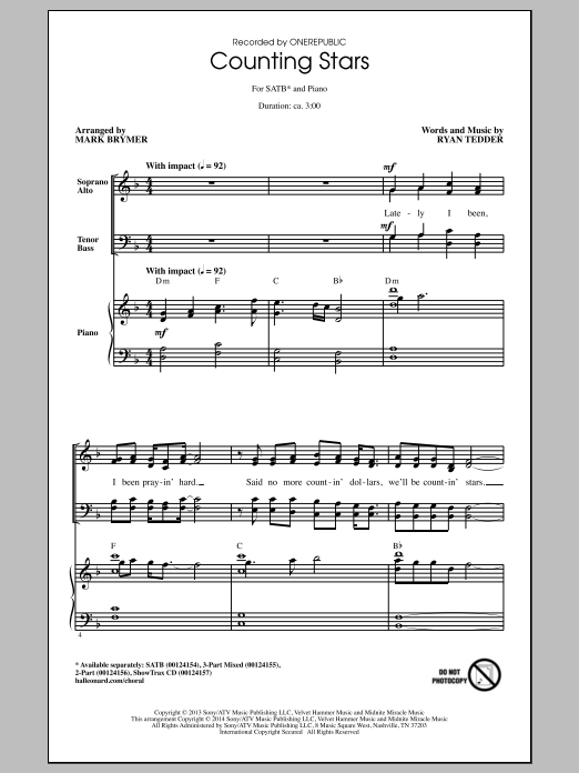 Partition chorale Counting Stars de Ryan Tedder - SATB
