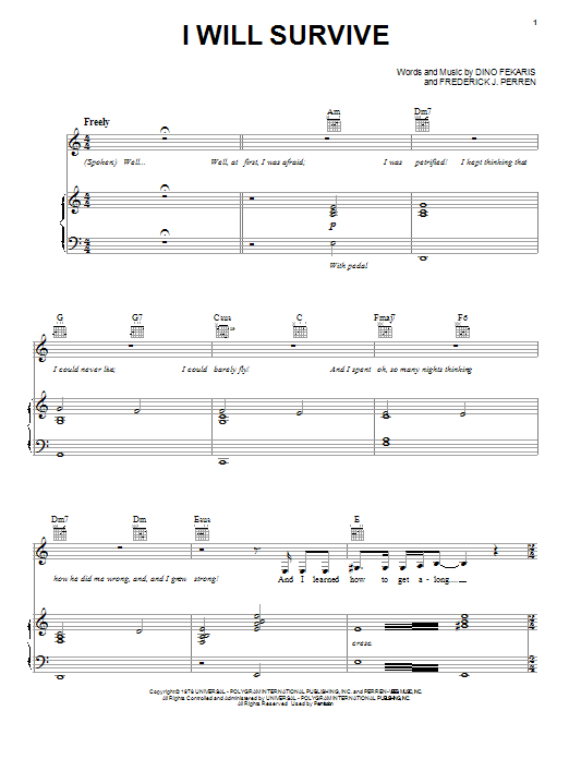I Will Survive sheet music for voice, piano or guitar by Frederick Perren