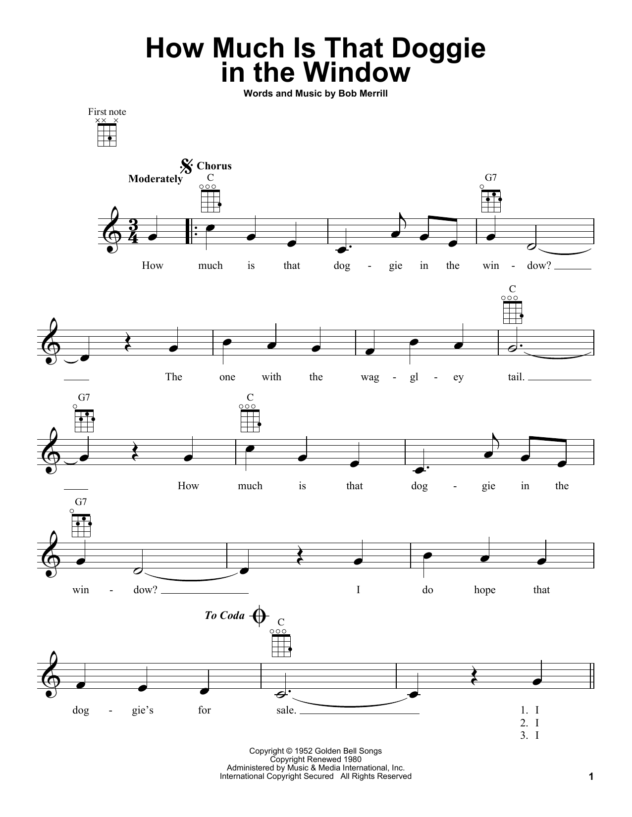 Tablature guitare How Much Is That Doggie In The Window de Baby Jane & The Rockabyes - Ukulele