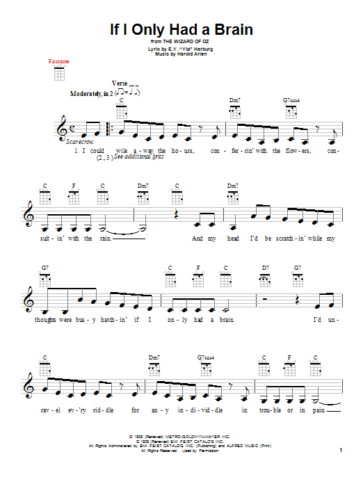 Tablature guitare If I Only Had A Brain de Harold Arlen - Ukulele