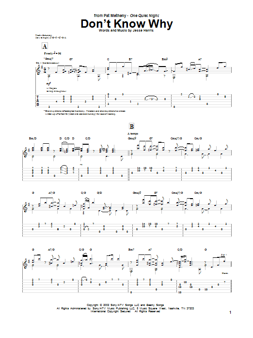 Tablature guitare Don't Know Why de Norah Jones - Tablature Guitare