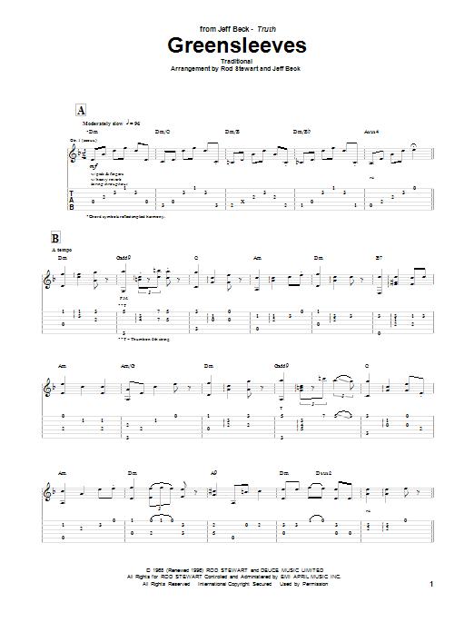 Tablature guitare Greensleeves de Jeff Beck Group - Tablature Guitare