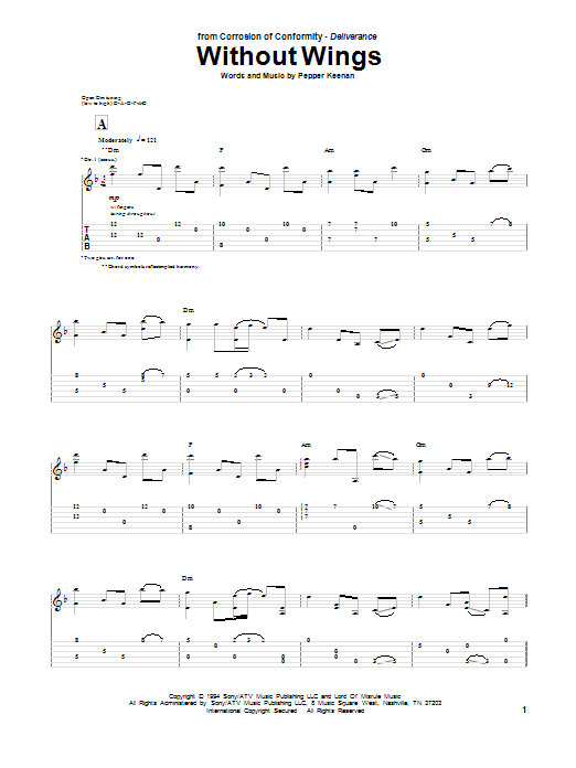 Tablature guitare Without Wings de Pepper Keenan - Tablature Guitare