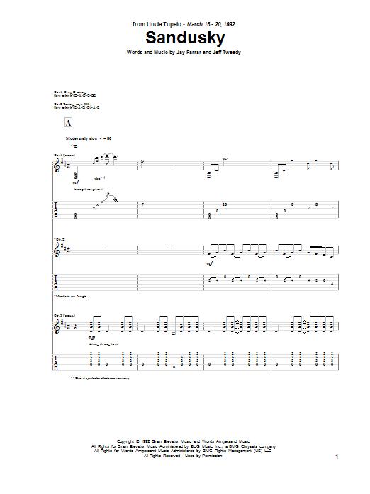 Tablature guitare Sandusky de Uncle Tupelo - Tablature Guitare