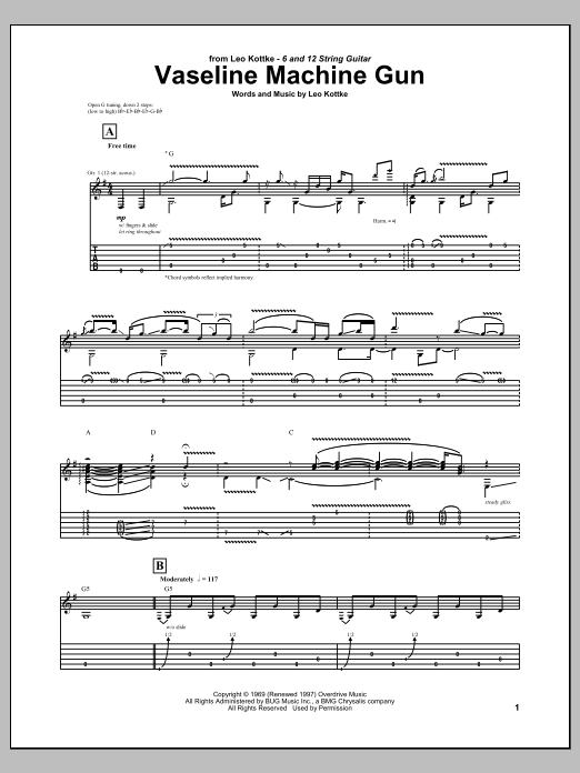 Tablature guitare Vaseline Machine Gun de Leo Kottke - Tablature Guitare