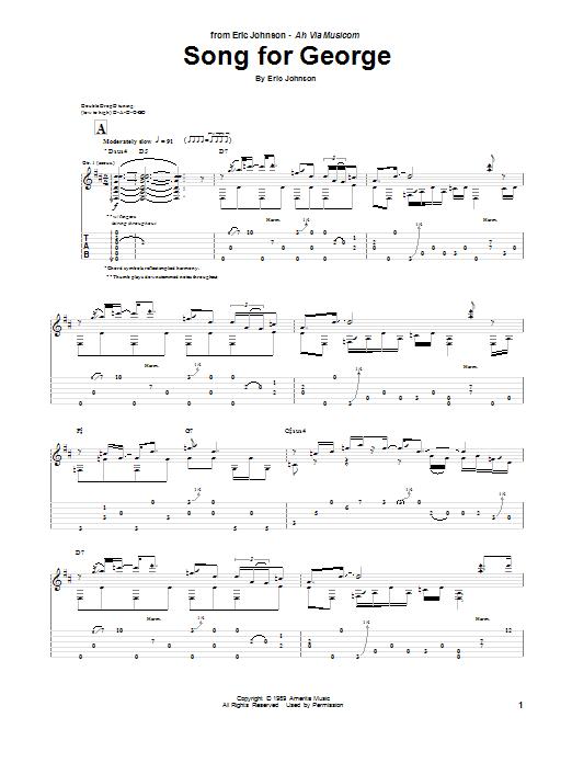 Tablature guitare Song For George de Eric Johnson - Tablature Guitare